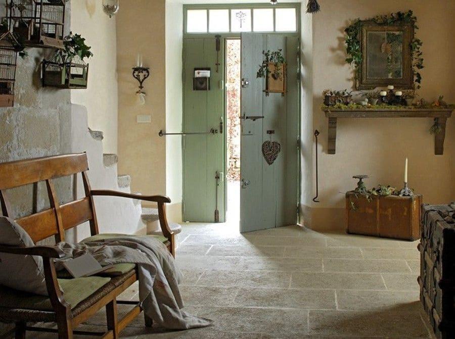 Варианты интерьера в прихожей - камень, ламинат, плитка, фреска 182