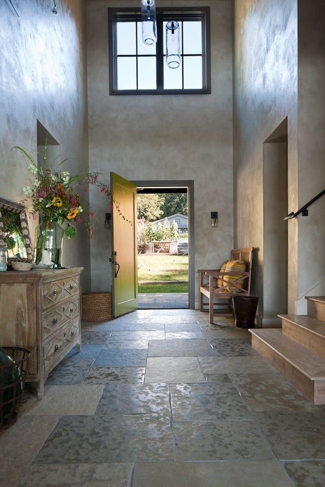 Варианты интерьера в прихожей - камень, ламинат, плитка, фреска 189