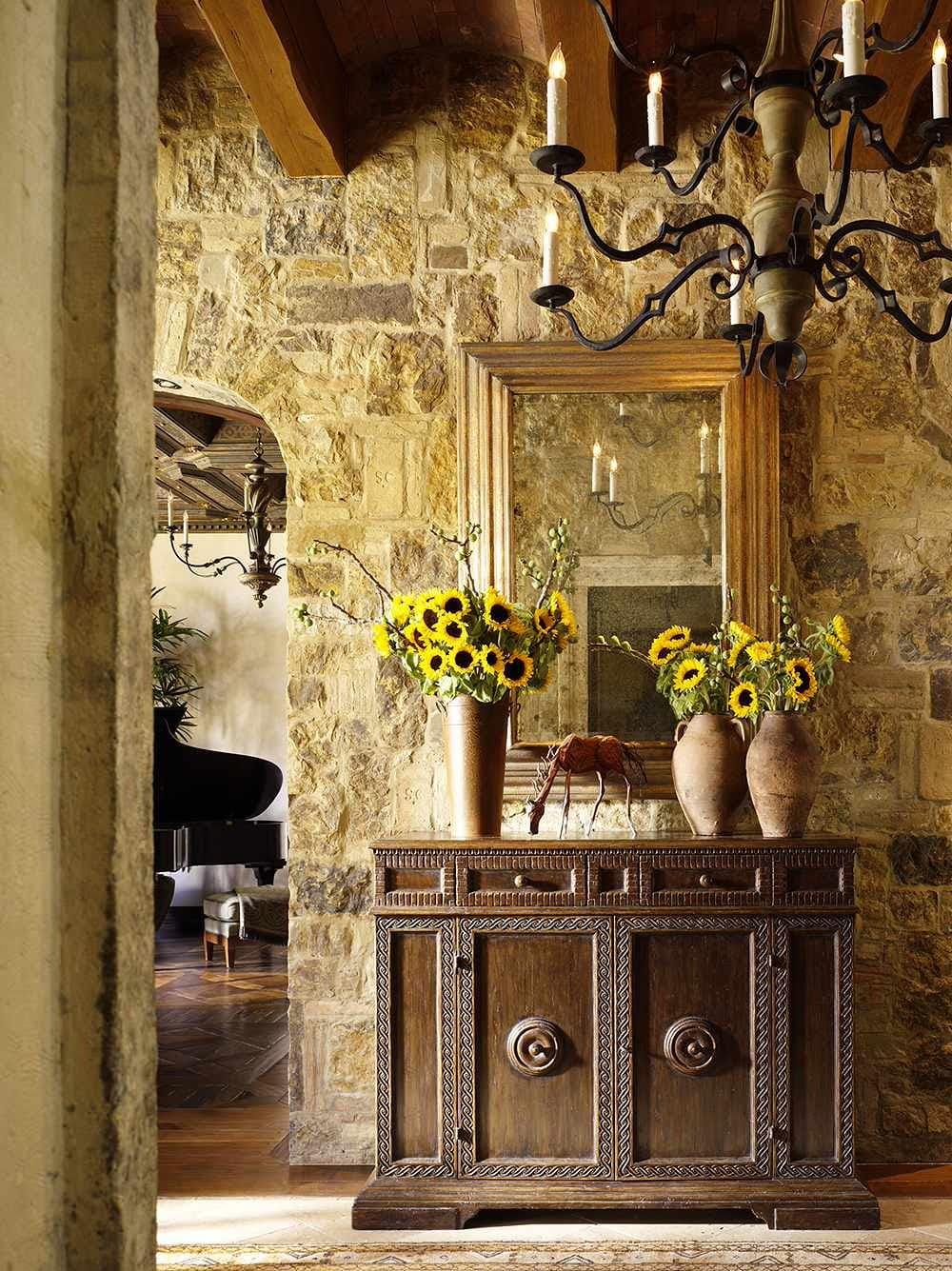 Варианты интерьера в прихожей - камень, ламинат, плитка, фреска 192