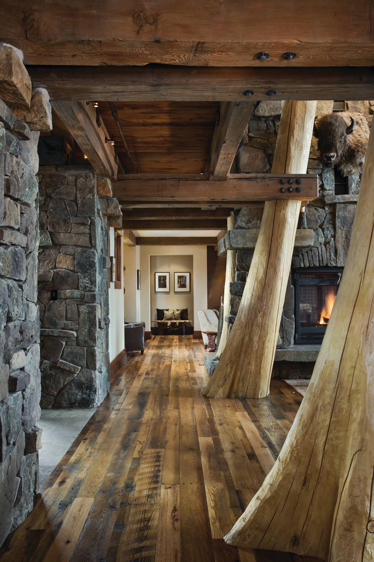 Варианты интерьера в прихожей - камень, ламинат, плитка, фреска 201