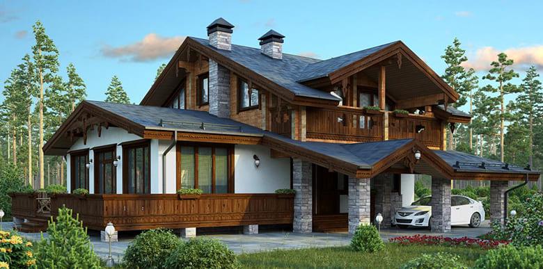 Фото красивых домов и коттеджей в России 054