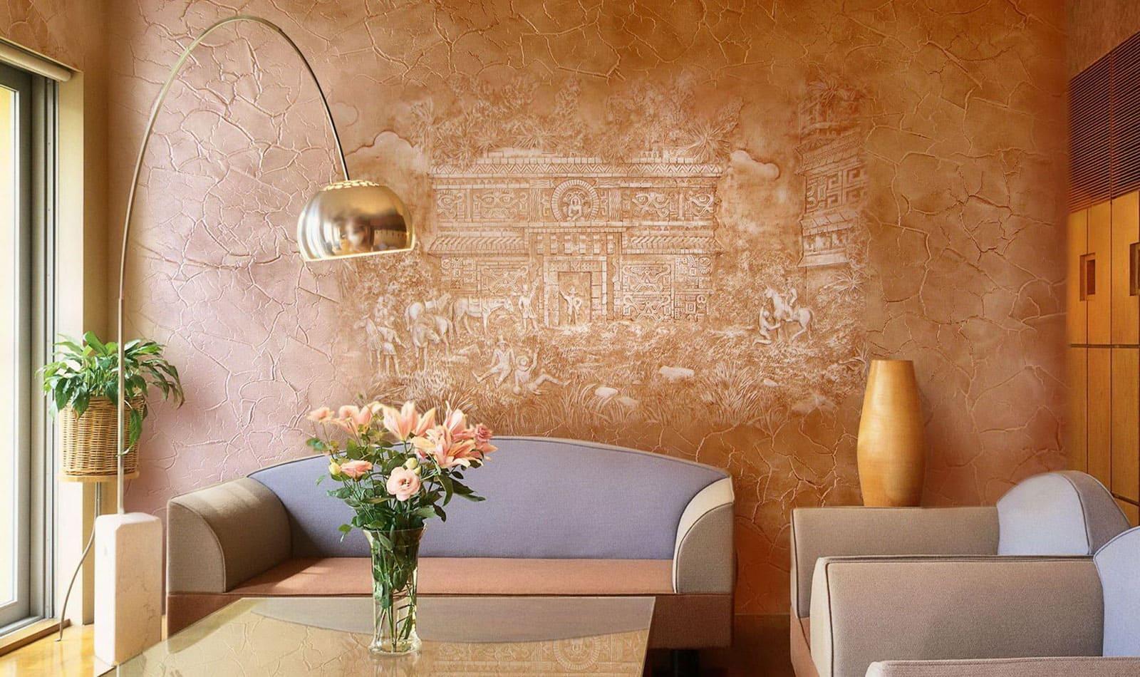 Декоративная штукатурка - лучшие красивые варианты отделки стен в интерьере 049