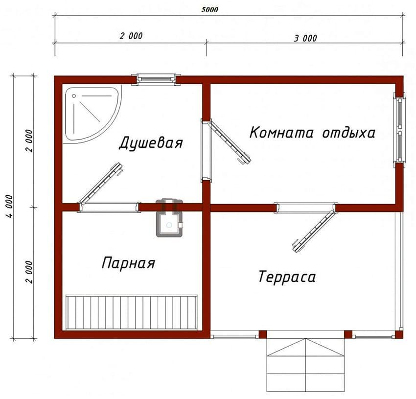 Проекты бань - чертежи и фото 025