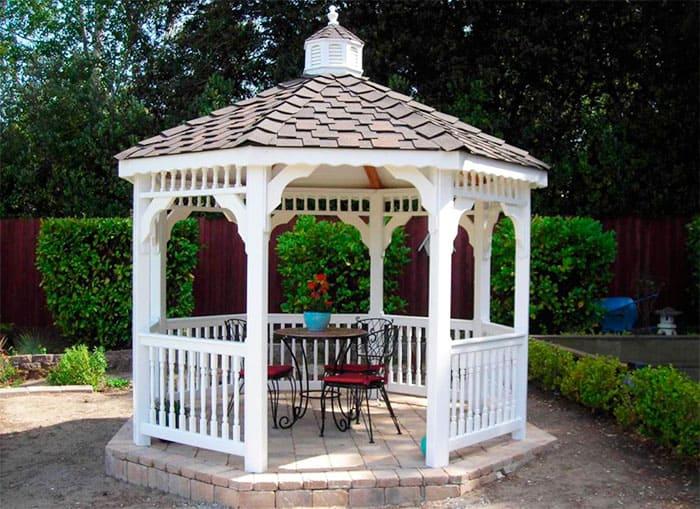 Виды дачных беседок - идеи простых садовых, открытых и закрытых вариантов 033