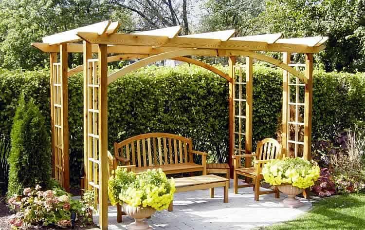 Виды дачных беседок - идеи простых садовых, открытых и закрытых вариантов 070