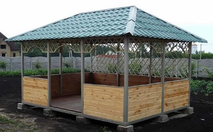 Виды дачных беседок - идеи простых садовых, открытых и закрытых вариантов 165