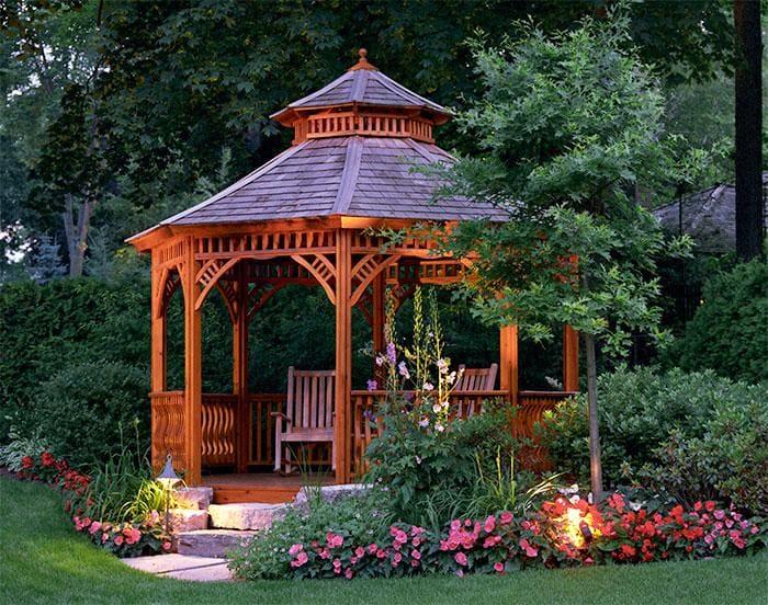 Виды дачных беседок - идеи простых садовых, открытых и закрытых вариантов 249